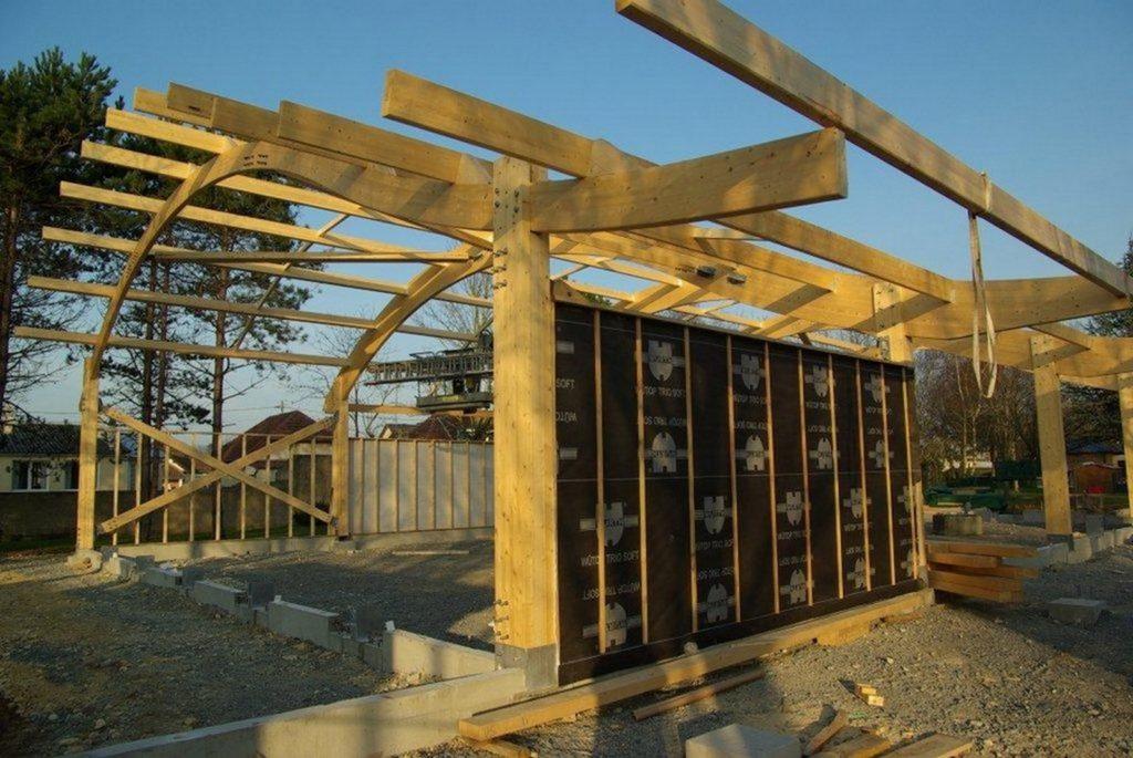 Boulodrome portique bois - Bureau d'etudes structure bois : Lefebvre Sylvain - pose de l'ossature bois